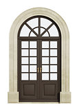 Balcony arch door on white
