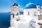 Scenic view of traditional cycladic blue white and blue domes