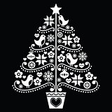Christmas tree design - folk style on black