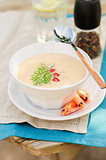 Cheese Shrimp Cream Soup in a White Bowl