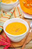 Pumpkin Cream Soup in a White Bowl