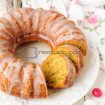 Sliced Pumpkin Bundt Cake with Sugar Icing