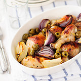 Roasted Chicken Legs (Drumsticks) with Onions and Green Oives