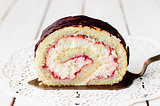 A Slice of Cottage Cheese and Raspberry Jam Swiss Roll