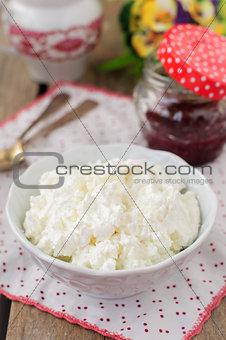 Cottage Cheese (Quark, Cream Cheese, Curd) in a White Bowl