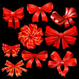 Red bow vector set.