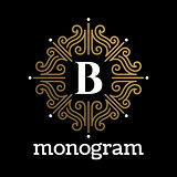 Vintage monogram frame template