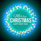 Congratulation to Christmas with blue lights