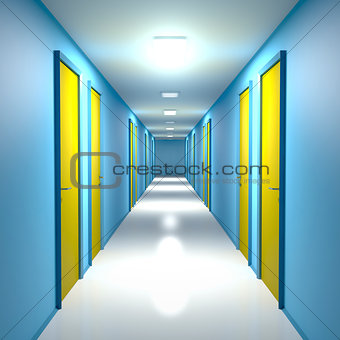Corridor with closed doors