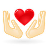 Charity and care concept - hands with heart
