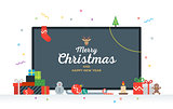 Large TV with Congratulatory text Merry Christmas and Happy New Year, gifts, presents, bauble, candy. Geek Card