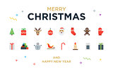 Christmas Greeting Card with lettering, icons and elements