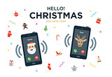 Christmas Greeting Card with phone call from Santa Claus and Reindeer