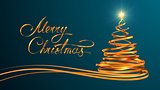 Gold Text Design Of Merry Christmas And Christmas Tree From Gold Tapes Over Cyan Background