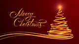 Gold Text Design Of Merry Christmas And Christmas Tree From Gold Tapes Over Red Background