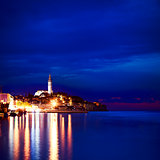 Night View of Medieval Town Rovinj in Croatia