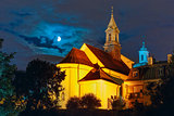 Church of Saint Benson at night, Warsaw, Poland.