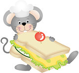Mouse eating cheese sandwich
