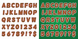 Christmas Candy Cane Green Alphabet Letters and Numbers