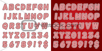 Christmas Candy Cane Alphabet Letters and Numbers