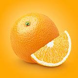 Orange citrus fruit with slice