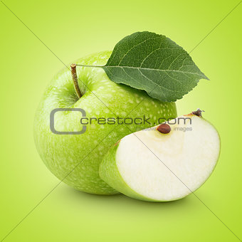 Green apple with leaf and slice