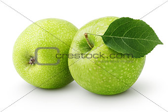 Green apples with leaf isolated on a white