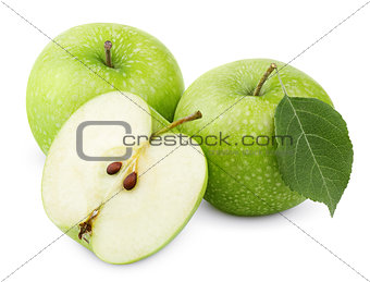 Green apples with leaf and half isolated on a white