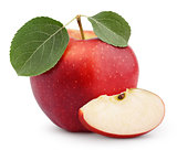 Red apple with green leaf and slice isolated on white