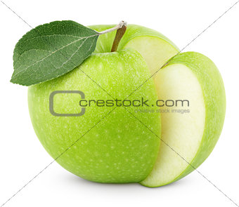 Green apple with leaf and cut isolated on white