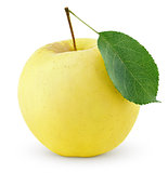 Yellow apple with leaf isolated on a white