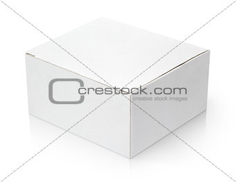 Closed cardboard box on white