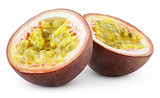 Two halves of passion fruit isolated on white