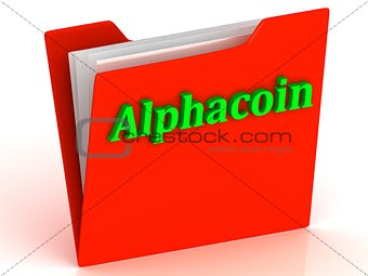 Alphacoin- bright green letters on a gold folder