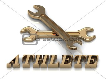 ATHLETE- inscription of metal letters and 2 keys