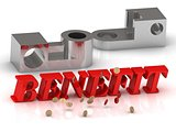 BENEFIT- inscription of red letters and silver details