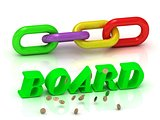 BOARD- inscription of bright letters and color chain