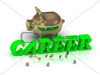 CAREER- inscription of bright green letters and gold