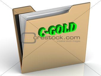 C-GOLD- bright color letters on a gold folder