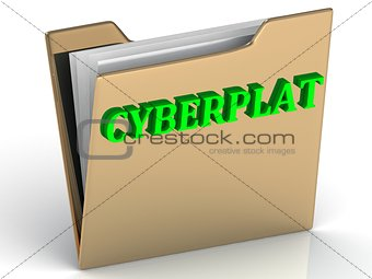 CYBERPLAT- bright color letters on a gold folder