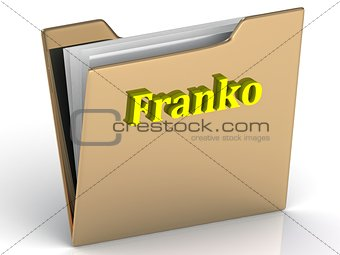 Franko- bright color letters on a gold folder