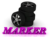 MARKER- bright letters and rims mashine black wheels