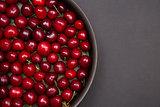 Top view of fresh red cherries