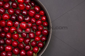 Top view of fresh red cherries