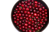 Red cherries in round baking tin