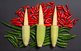 Fresh raw baby corn cobs on red and green non-stem chili peppers