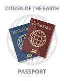 Vector illustration of biometric passports with globe, citizen o