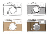 Vector illustration of retro cameras