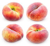 Set of chinese flat donut peaches on white