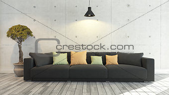 Black cloth sofa with concrete wall, background, template design